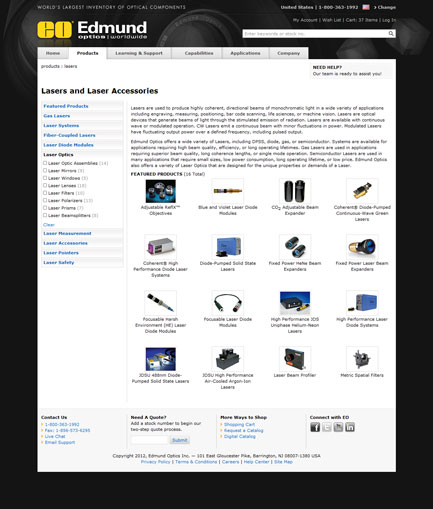 Edmund Optics, Inc. - Products Page