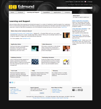 Edmund Optics, Inc. - Learning and Support Page