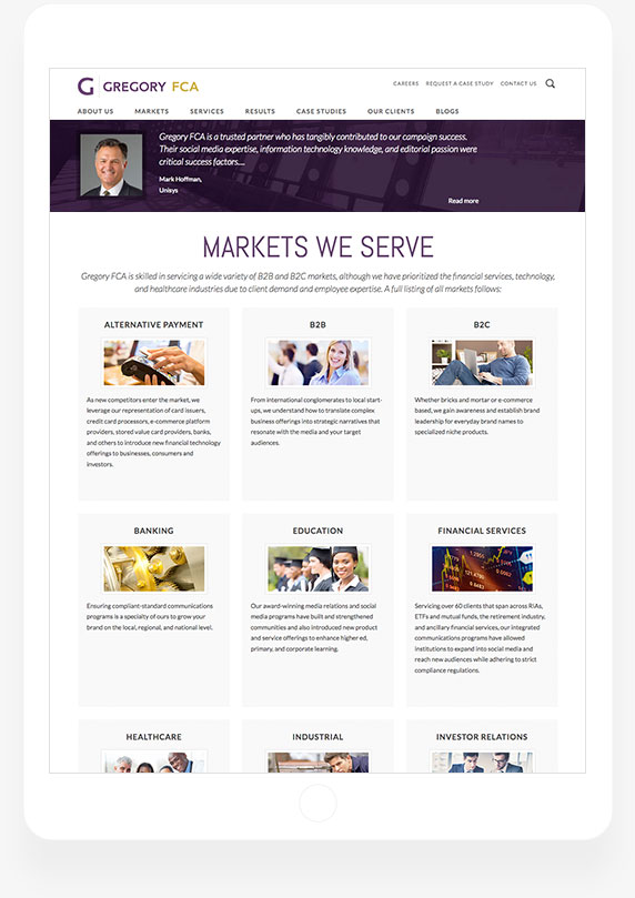 Gregory FCA - Markets We Serve Page