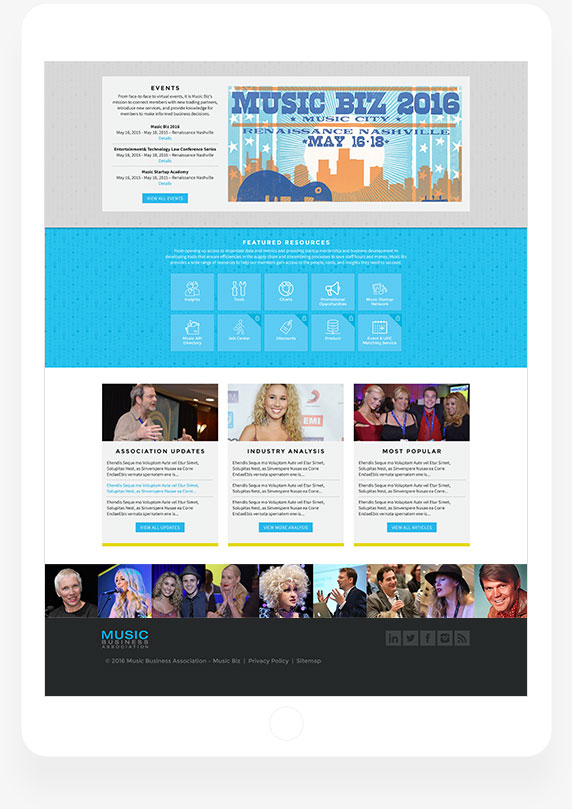 Music Business Association - Home Page - Tablet View